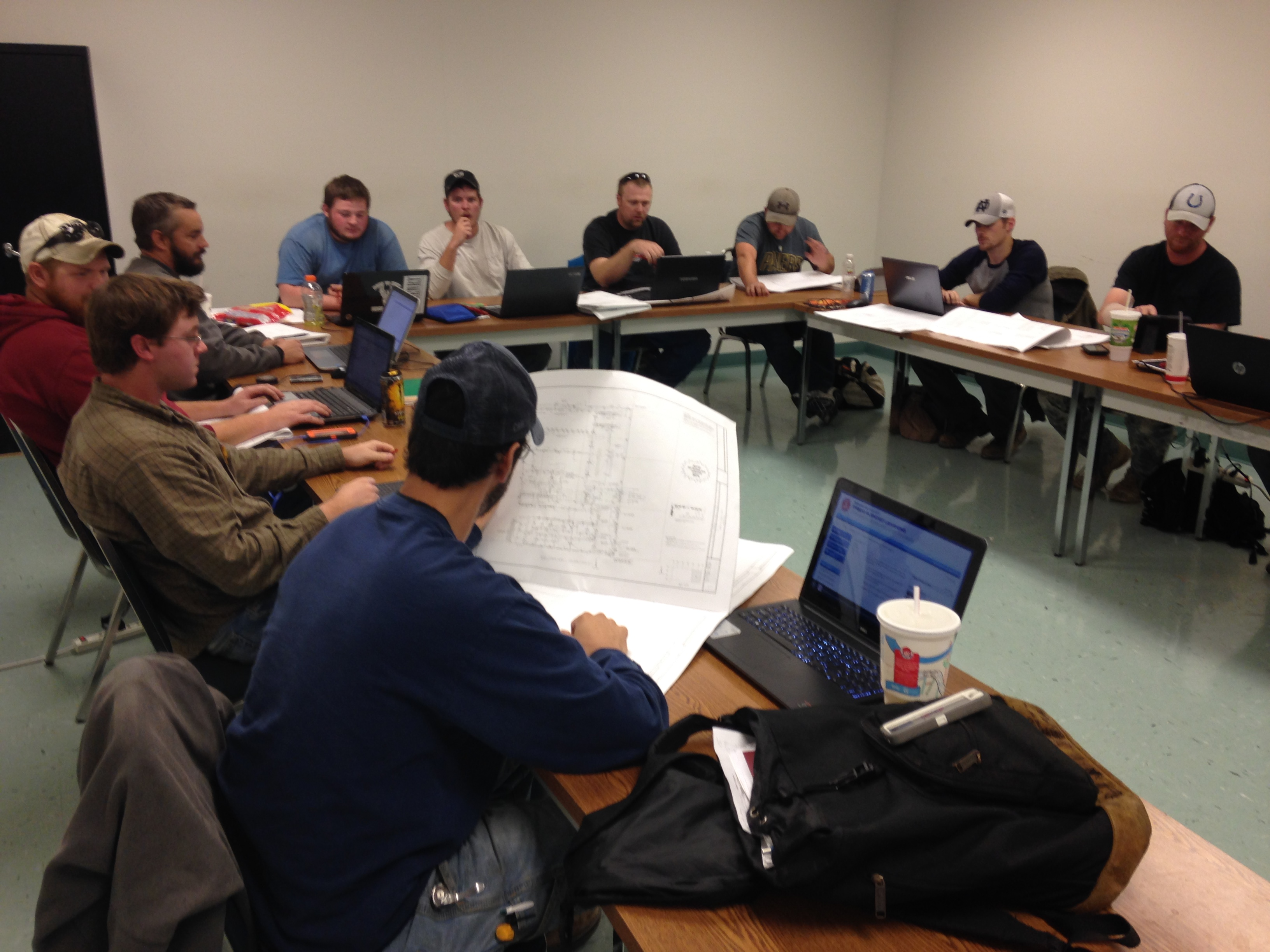 Students in a classroom at the  NECA/IBEW Electrical Training School