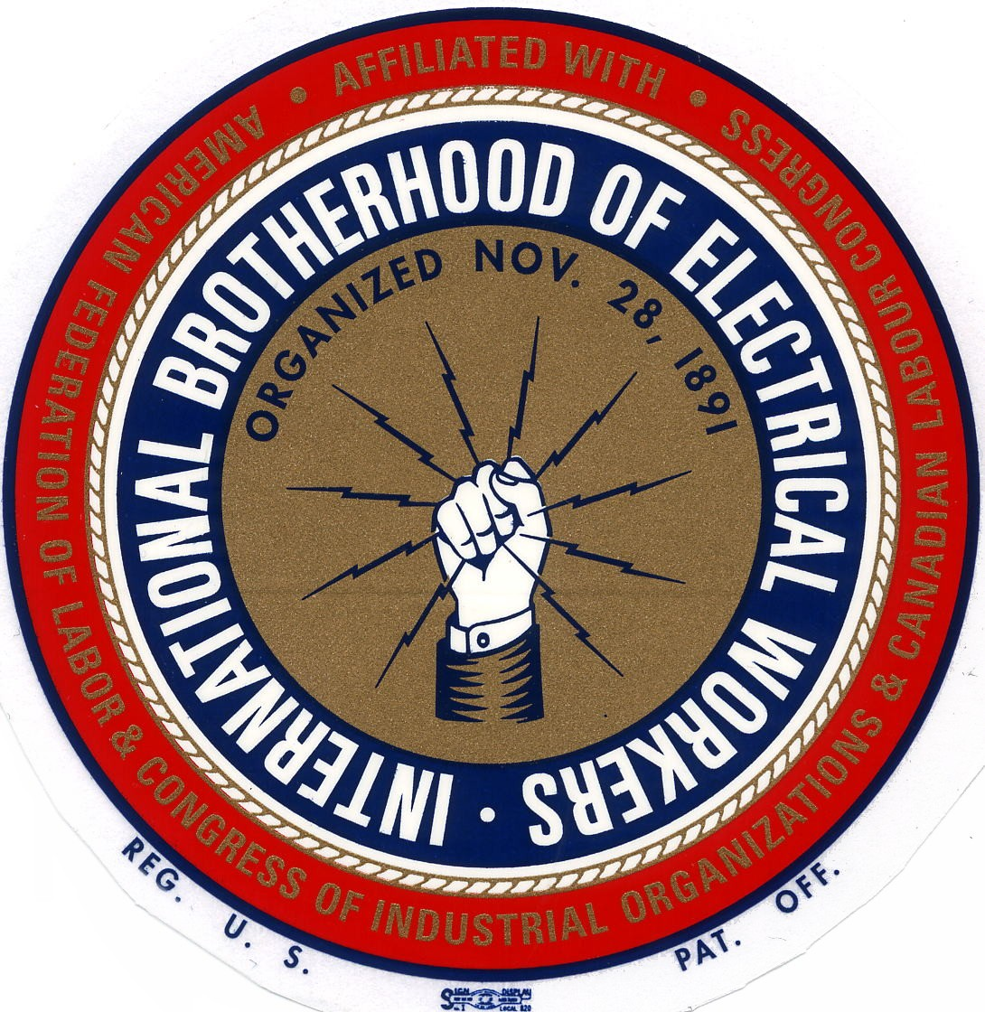 International Brotherhood of Electrical Workers (IBEW) logo. Visit their website where you can learn more about this sponsor.