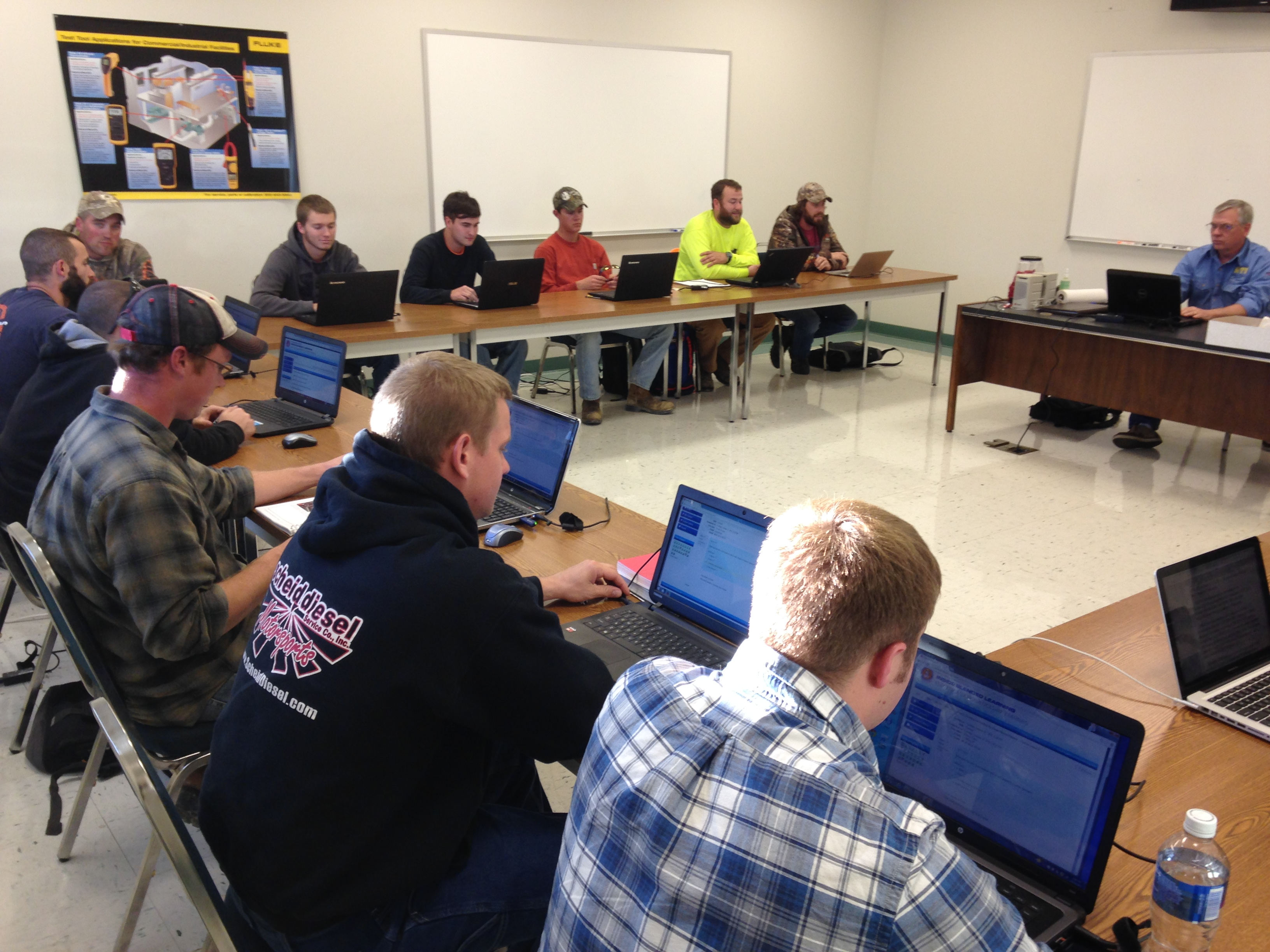 Students at the  NECA/IBEW Electrical Training School in a classroom with the instructor